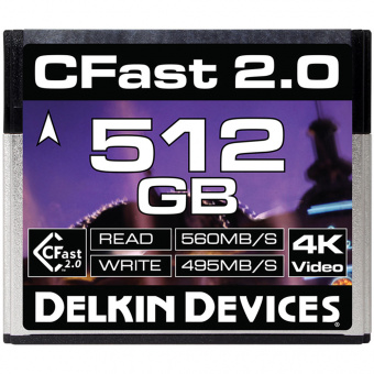 Карта памяти Delkin Devices Cinema CFast 2.0 512GB 560X 4K Video [DDCFST560512]